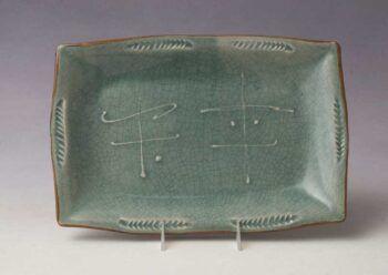 Rectangular Platter with slip and Crackle Glaze